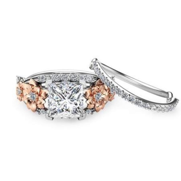 White Sapphire Wedding Ring Sets | Jewelry White Sapphire Wedding Engagement Floral Ring Set Poshmark